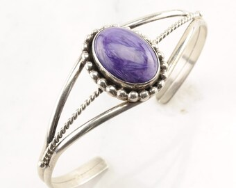 Charoite Sterling Silver Cuff Bracelet