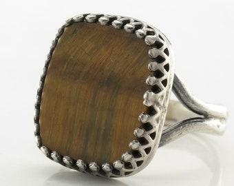 Filigree Sterling Silver Ring Size 6.5 Vintage Tiger Eye Orange