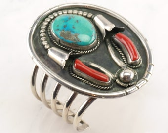 Native American Sterling Silver Cuff Bracelet Turquoise Coral, Flower