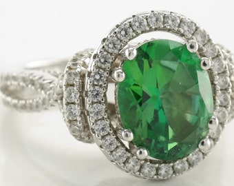 Green Engagement Ring Sterling Silver Size 6 Vintage
