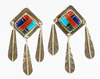 Southwest Sterling Silver Multi color Gemstone Inlay Earrings Dangle