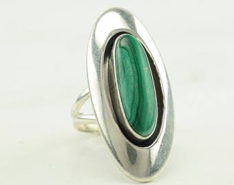 Long Native American Malachite Sterling Silver Ring Size 6.5 Southwest Shadowbox Green Vintage