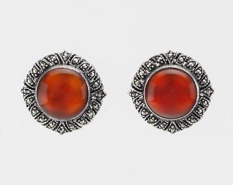 Vintage Sterling Silver Stud Earrings Orange Carnelian Marcasite