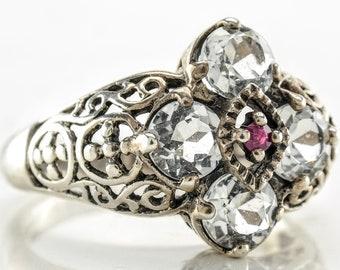 Filigree Sterling Silver Ring Size 9 Topaz Ruby Vintage