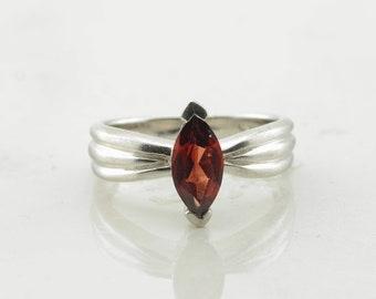 Vintage Sterling Silver Ring Garnet Red Size 7