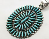 Vintage Zuni Turquoise Needlepoint Sterling Silver Pendant Blue Natural