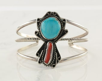 Vintage Coral Turquoise Cuff Bracelet Sterling Silver