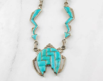 Native American Inlay Necklace Sterling Silver Blue Turquoise Coral
