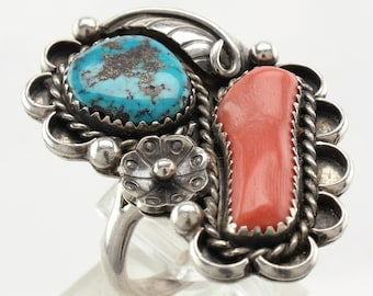 Native American Sterling Silver Ring Size 10 Blue, Coral Turquoise Vintage Coral