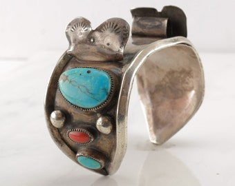 Native American Sterling Silver Watch Cuff Bracelet Blue, Red Turquoise, Coral