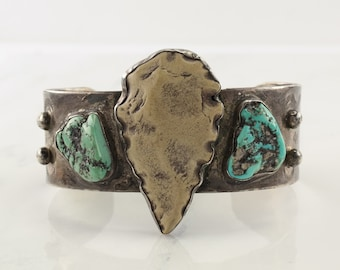 Southwest Sterling Silver Cuff Bracelet Blueish Green, Cream Turquoise, Arrow Head