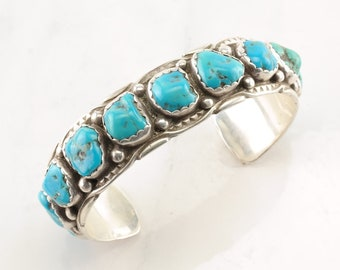 Native American Sterling Silver Cuff Bracelet Blue Turquoise Row