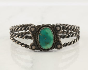 Native American Sterling Silver Cuff Bracelet Greenish Blue Braided Rope Turquoise