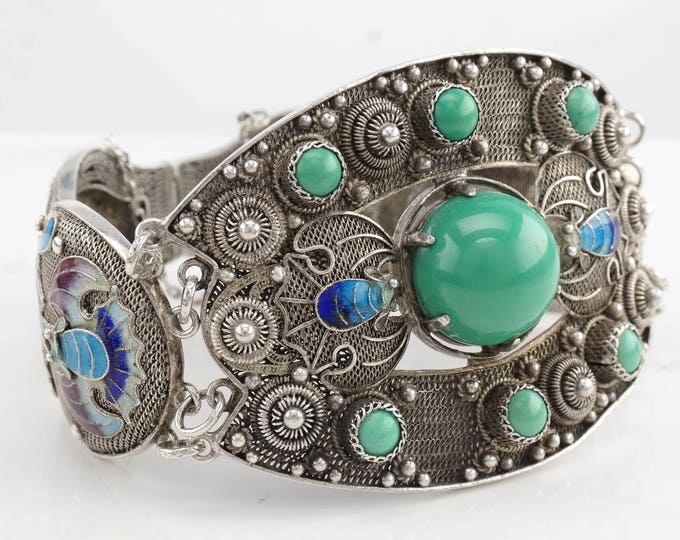 Featured listing image: Chinese Antique Turquoise Enamel Bracelet Green Blue