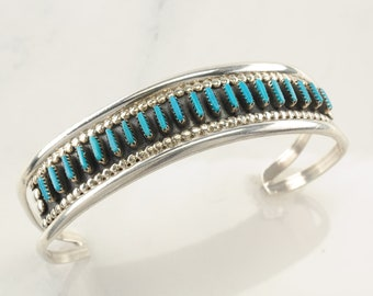 Zuni Sterling Silver Cuff Bracelet Blue Needle Point Turquoise