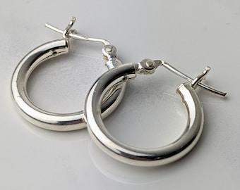 3/4 inch Silver Hoop Earrings, 3mm, Sterling
