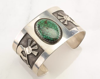 Native American Sterling Silver Cuff Bracelet Green Spiderweb, Turquoise