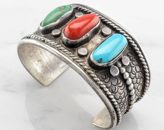 Featured listing image: Native American Turquoise & Coral Sterling Silver Cuff Bracelet Traffic Light