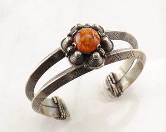 Nordic Sterling Silver Cuff Bracelet Amber