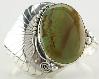Vintage Native American Sterling Silver Cuff Bracelet Green Turquoise