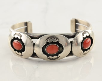 Native American Sterling Silver Cuff Bracelet Orange Coral Shadow Box