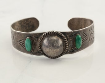 Fred Harvey Era Sterling Silver Cuff Bracelet Green Turquoise