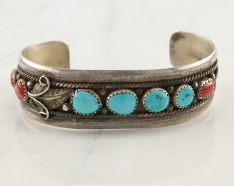 Native American Sterling Silver Cuff Bracelet Orange Turquoise Coral