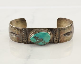 Native American Sterling Silver Cuff Bracelet Blue Turquoise Golden Patina