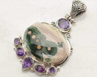 Vintage Statement Amethyst Jasper Sterling Silver Pendant Purple Green