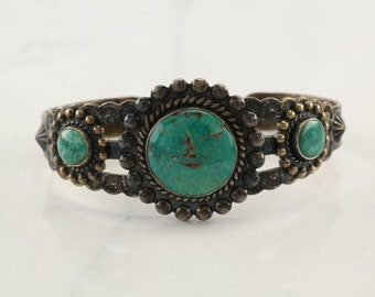Fred Harvey Era Sterling Silver Cuff Bracelet Blue Turquoise