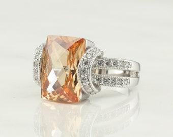 Vintage Sterling Silver Ring Gemstone Peach Size 9