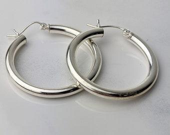 1 1/4 inch Modern Silver Hoop Earrings 3mm Sterling