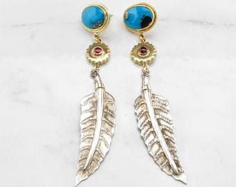 18k & SS Designer Boho Turquoise Garnet Earrings Gold and Sterling Silver Donald Pywell