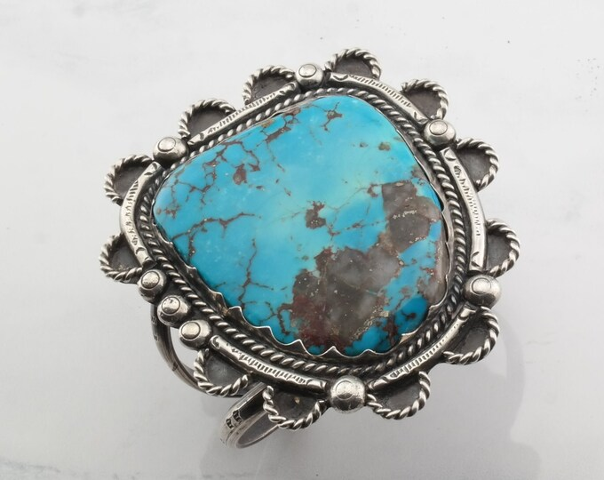 Featured listing image: Navajo Sterling Silver Cuff Bracelet Bisbee Turquoise