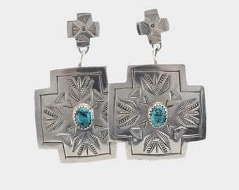 Vintage Sterling Silver Dangle Earrings Spiderweb Blue Turquoise