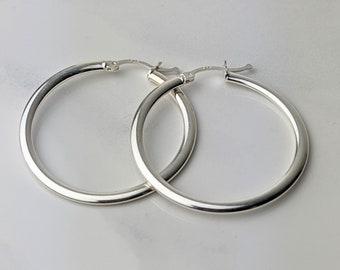 1 1/2 inch Silver Hoop Earrings 2mm Sterling