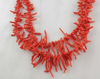 Native American Coral Necklace Sterling Silver
