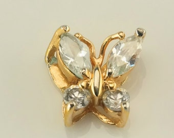 Vintage CZ Butterfly Sterling Silver Pendant 2/5 Inch Tall