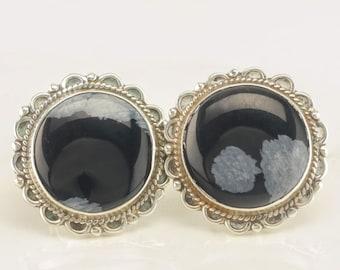 Sterling Silver Black & White Snowflake Obsidian Screw Back Earrings