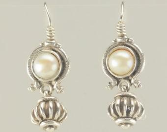 Sterling Silver Early, Lazaro Diaz Pearl Heavy Earrings
