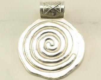 Sterling Silver Swirl Pendant 1 2/5 Inch Tall