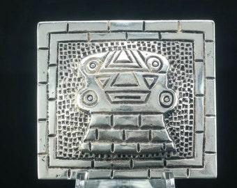 Sterling Silver Aztec, Mayan Brooch