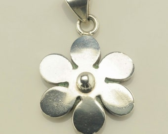 Vintage Flower Sterling Silver Pendant 4/5 Inch Tall