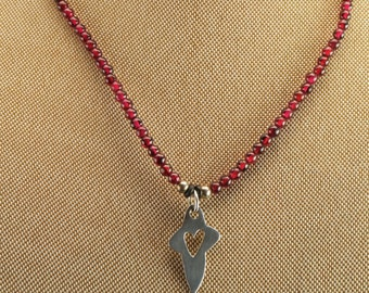 """Sterling Silver Dark Pink Beads Heart Necklace 15"""""""