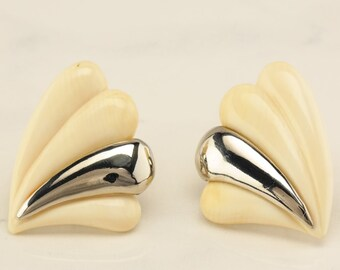 White Sterling Silver Inlay Clip On Earrings