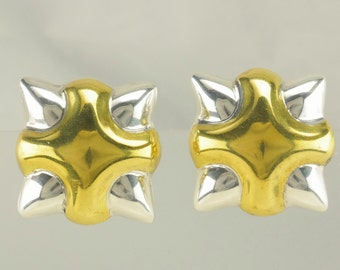 Sterling Silver Gold Plated Modernist Clip On Earrings