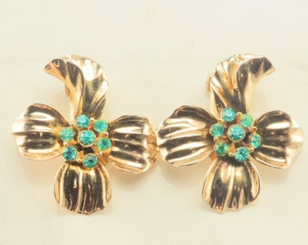 Sterling Silver, Gold Plated Blue CZ Flower Clip On Earrings