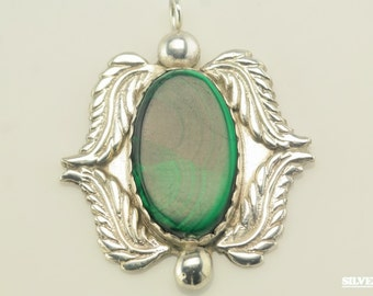 Vintage Malachite & Feathers Sterling Silver Pendant 1 3/10 Inch Tall