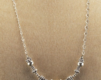 """Sterling Silver  Figaro & Cross, Bead Balls Necklace 20"""""""