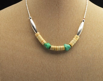 """6 mm Sterling Silver Heishi Beads & Shell, Turquoise Necklace 14"""""""
